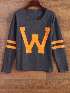 Letter Stripe T-Shirt - Gray