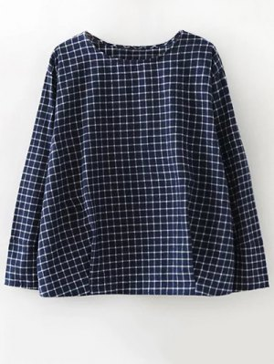 Plaid Letter Embroidered Blouse - Purplish Blue
