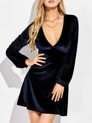 Empire Waist A Line Velvet Dress - Purplish Blue