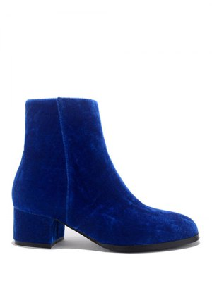 Round Toe Zip Chunky Heel Ankle Boots