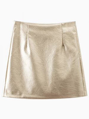 Metal Colour PU Leather Mini Skirt - Golden