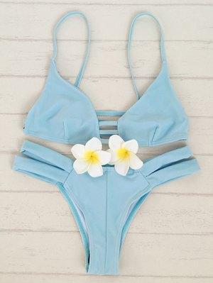 Solid Color Cami Bandage Bikini Set - Light Blue
