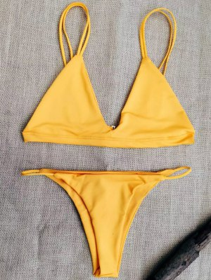 Low Waisted Spaghetti Straps Bikini Set - Sweet Orange