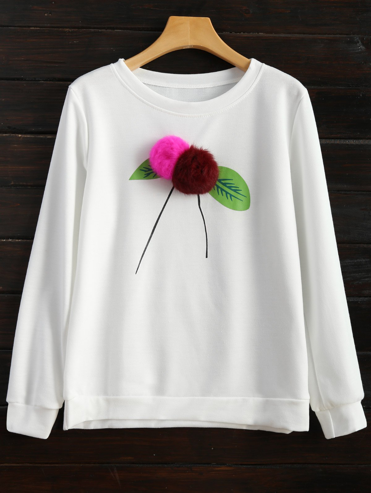 Pom Sweatshirt - WHITE XL