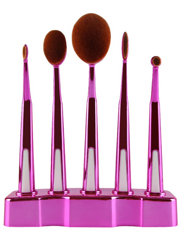 5 Pcs Nylon Toothbrush Shape Makeup Brushes Set with Brush Stand