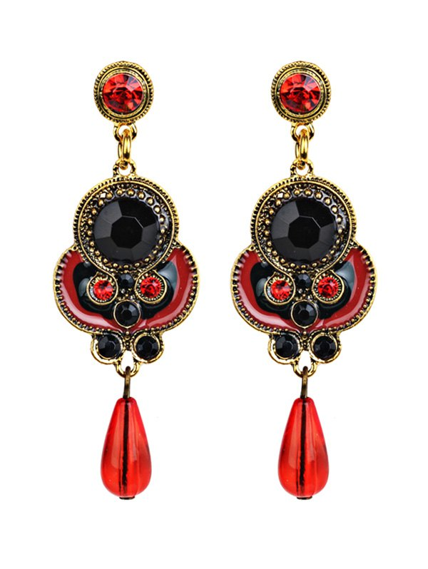 Rhinestone Fake Gem Drop Earrings