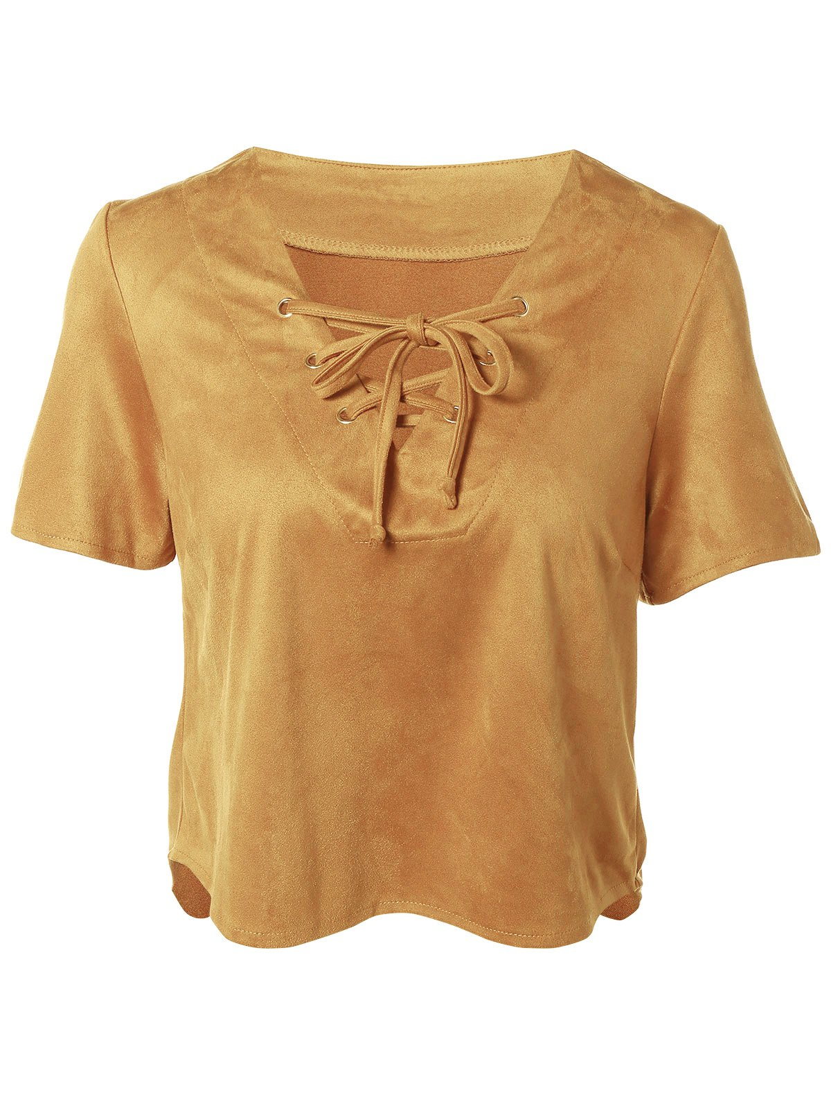 Short Sleeve Plunging Neck Lace-Up Faux Suede T-Shirt