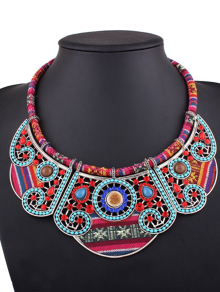 Rhinestone Blossom Fake Collar Necklace