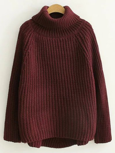 Turtleneck Chunky Pullover Sweater - BURGUNDY ONE SIZE