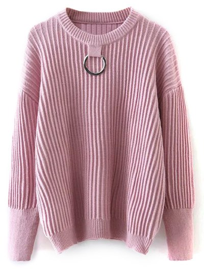 Ribbed Oversized Sweater With Metal Ring