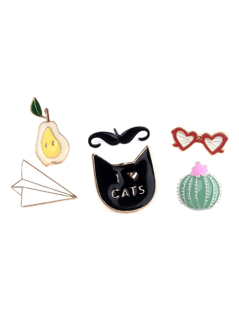 Mustache Cat Plane Heart Glasses Brooch Set