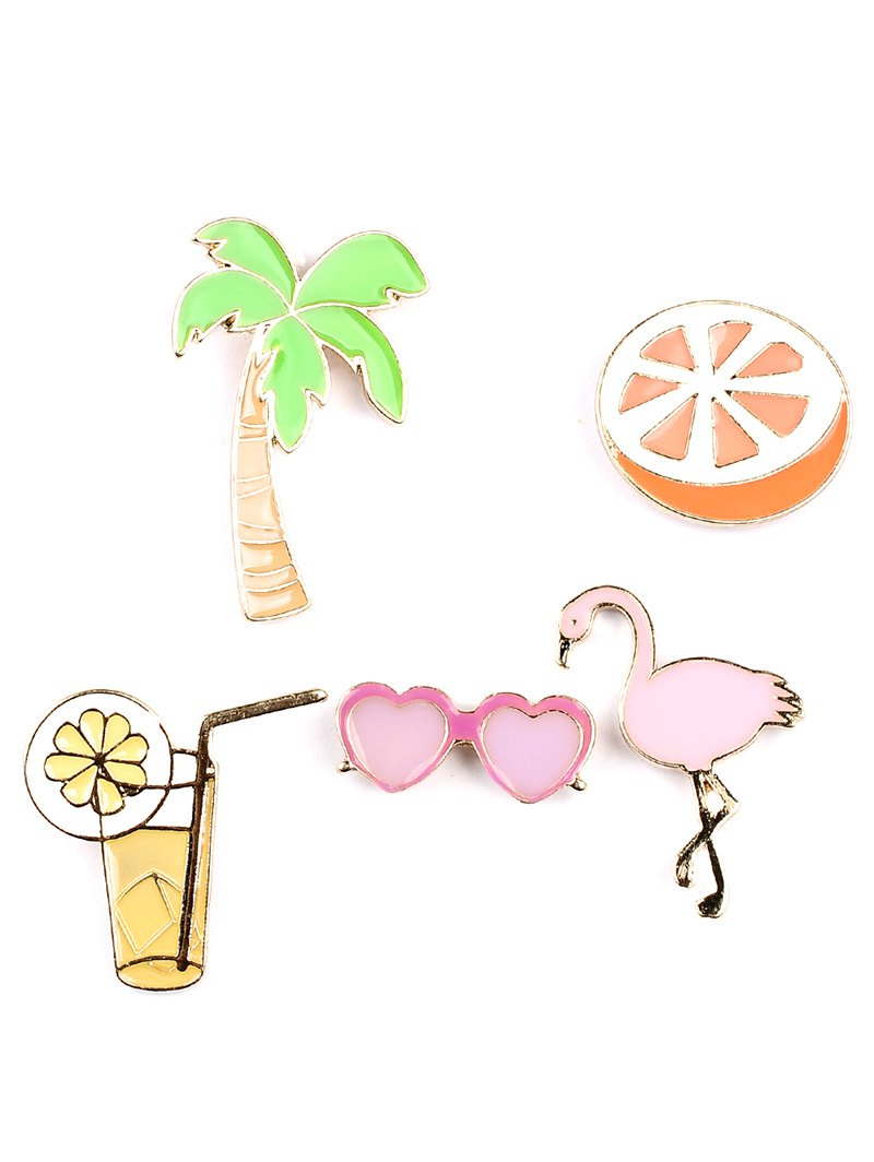 Coconut Tree Orange Heart Glasses Brooch Set