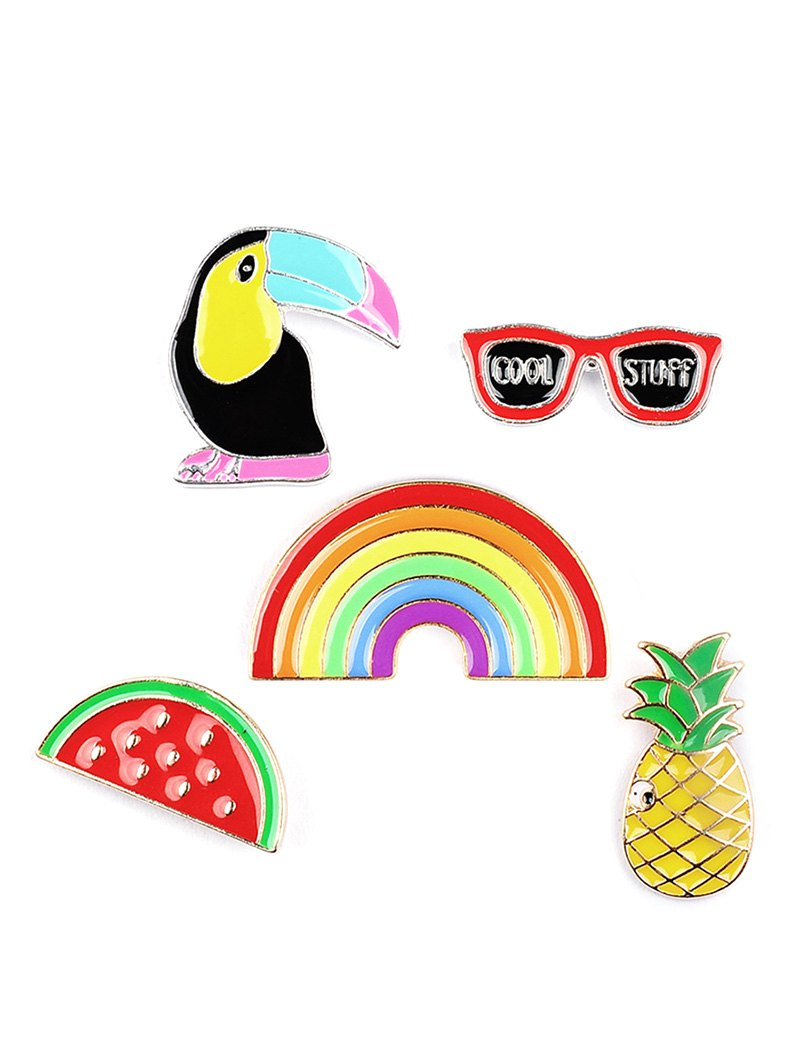 Pineapple Rainbow Watermelon Glasses Brooch Set