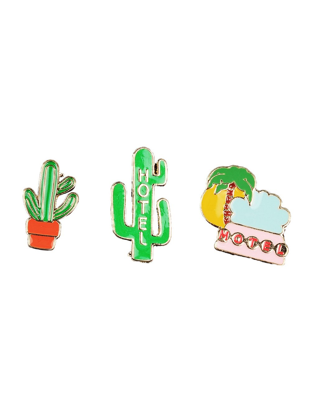 Cactus Coconut Tree Hotel Brooch Set