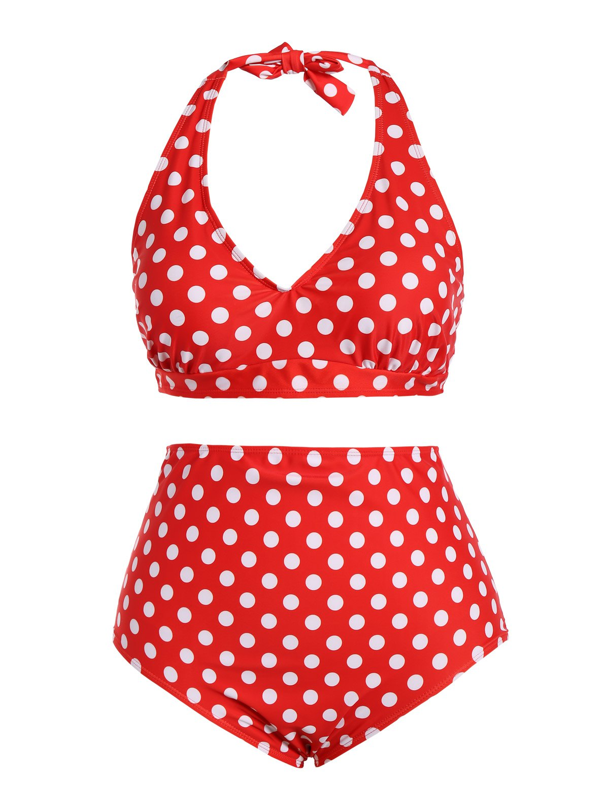 Halter Polka Dot Plus Size Bikini Set