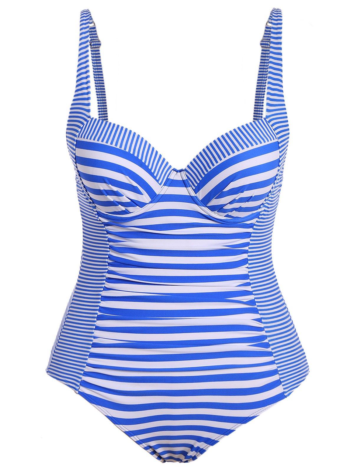 Spaghetti Straps Striped Plus Size Swimwear