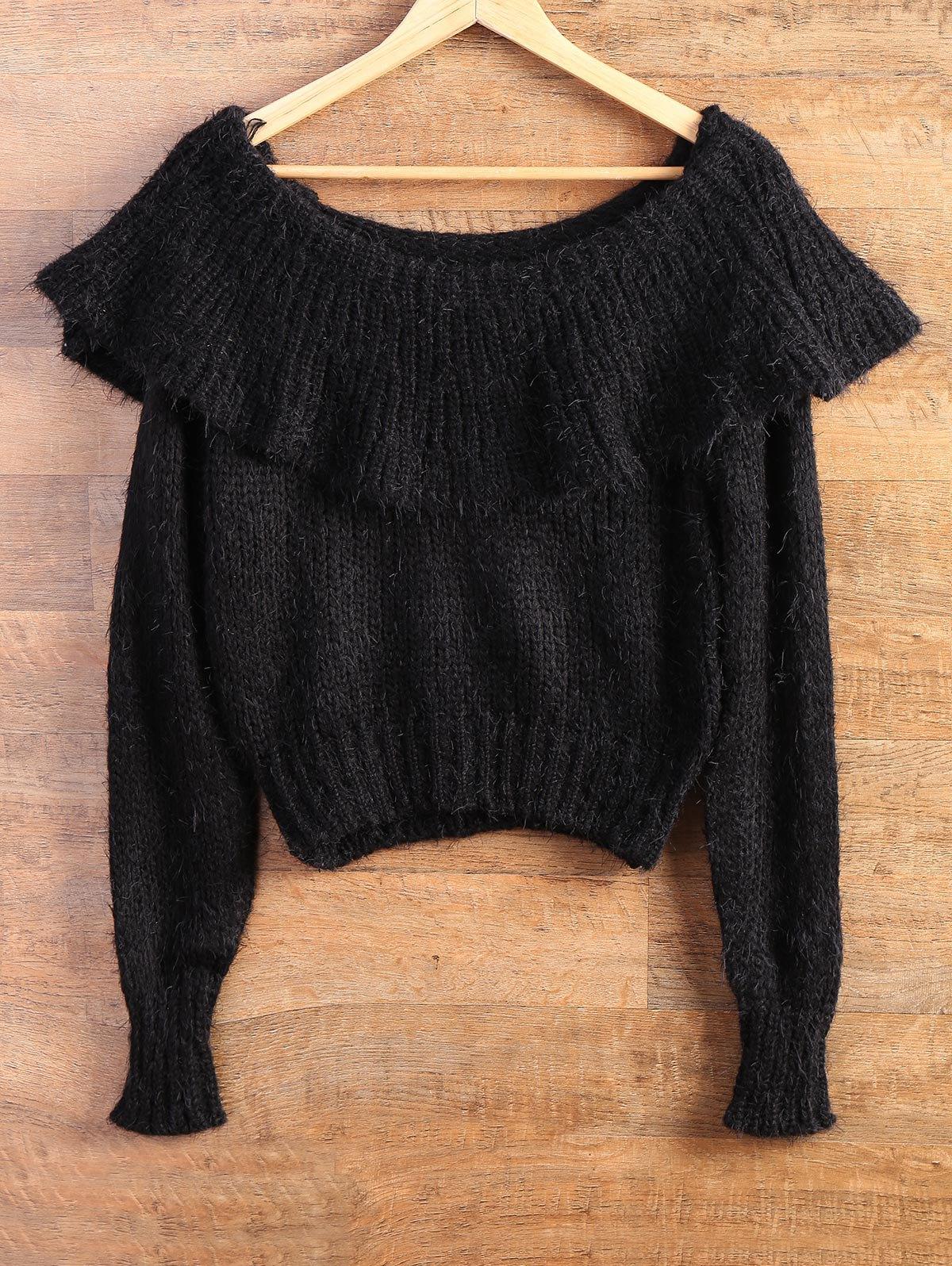 Flounce Ruffles High-Low Fuzzy Sweater