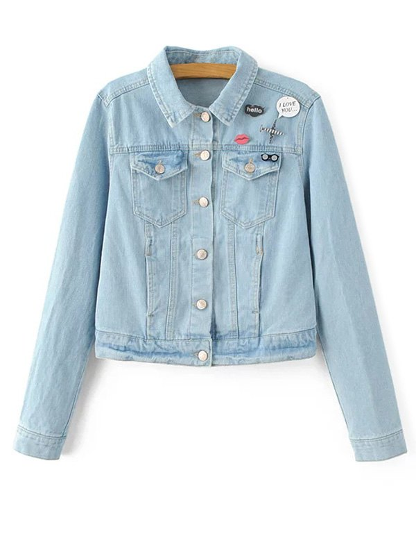Light Wash Patch Jean Jacket