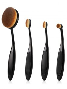 4 Pcs Toothbrush Shape Makeup Brushes Set - Black
