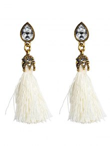 Rhinestone Tassel Water Drop Earrings - White