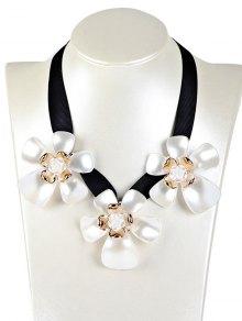 Floral Faux Gem Necklace - White