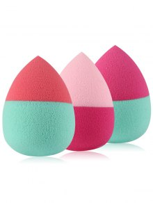 3 Pcs Two Tone Teardrop Shape Beauty Blenders - Red