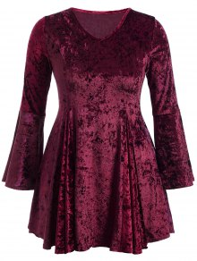 Bell Sleeve V Neck Fit and Flare Velvet Dress