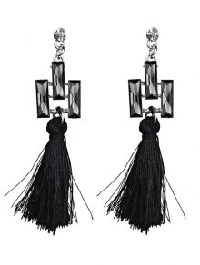 Tassel Faux Crystal Dangle Earrings
