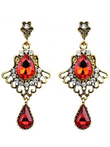Scallop Water Drop Faux Crystal Earrings