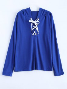 Long Sleeve Lace Up Hooded T Shirt - Blue S