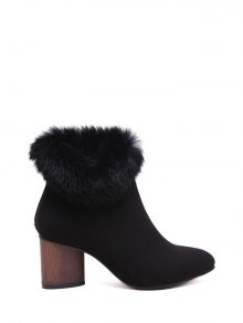 Buy Zip Pointed Toe Faux Fur Ankle Boots 39 BLACK