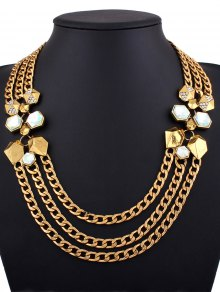 Alloy Rhinestone Geometric Chain Necklace