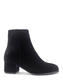 Round Toe Zip Chunky Heel Ankle Boots - Black