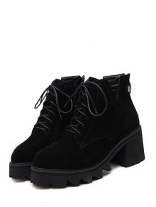 Slit Lace Up Chunky Heel Boots BLACK: Boots | ZAFUL