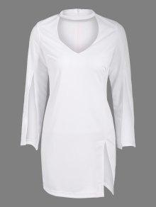 Side Furcal Cut Out Bodycon Choker Dress - White M