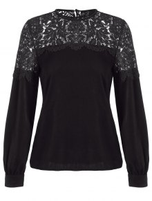 Lace Spliced Cut Out Blouse