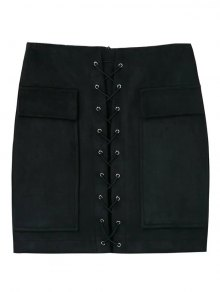 Lace Up Faux Suede Mini Skirt - Black S