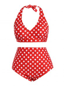 Polka Dot Halter Plus Size Vintage Bikini - Red 3xl