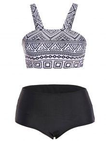 Tribal Print Strap Bikini - Black L