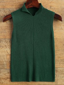 High Neck Vest Ribbed Sweater