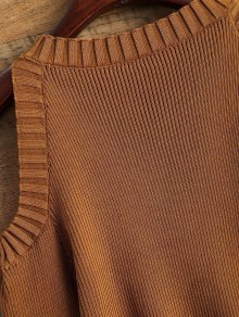 Loose-Fitting Cold Shoulder Sweater - COFFEE ONE SIZE