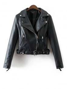 Lapel Collar Fitted Biker Jacket