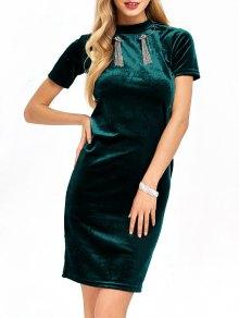 Short Sleeve Velvet Dress - Blackish Green L