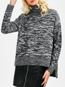 Boxy Heathered Turtleneck Sweater - Gray