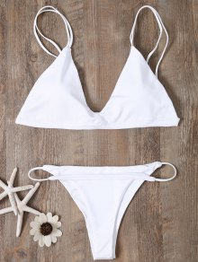 Low Waisted Spaghetti Straps Bikini Swimwear - White M