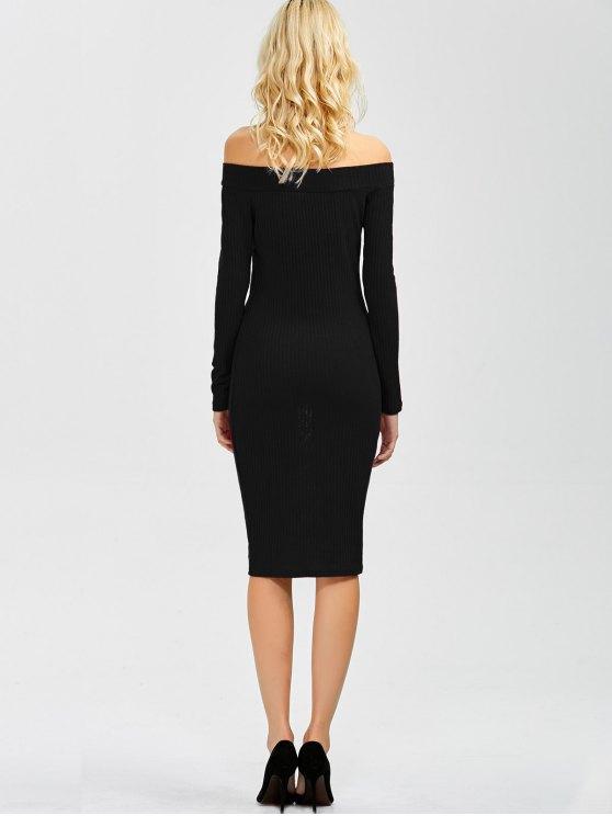 Off Shoulder Bodycon Long Sleeve Dress - BLACK S Mobile