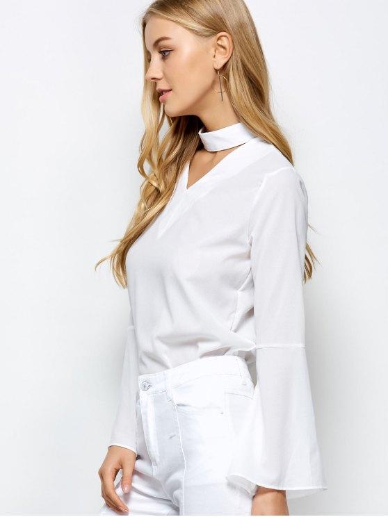 Loose Choker Flare Sleeve Blouse - WHITE XL Mobile