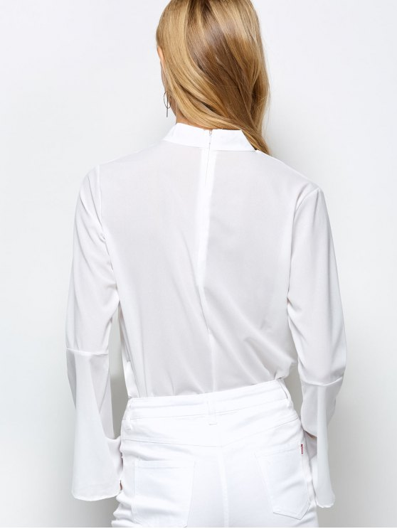 Loose Choker Flare Sleeve Blouse - WHITE L Mobile