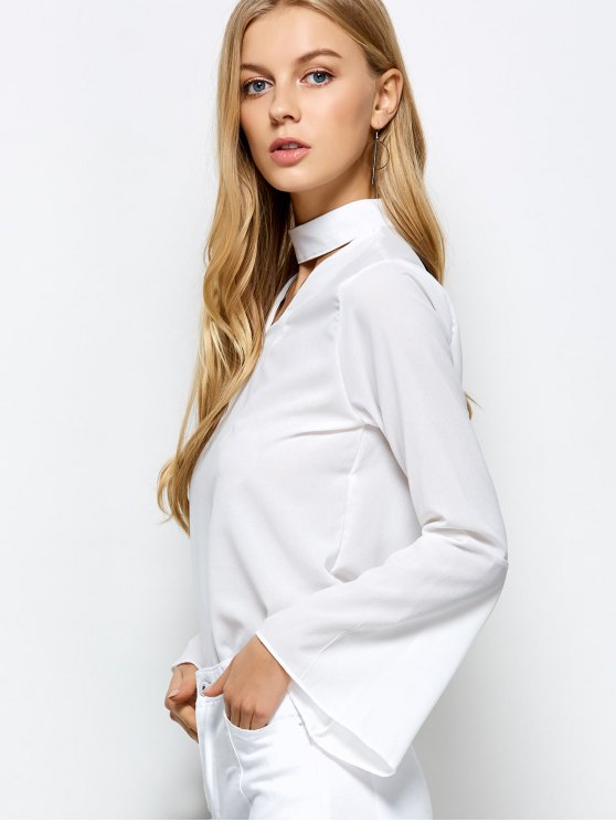 Loose Choker Flare Sleeve Blouse - WHITE S Mobile