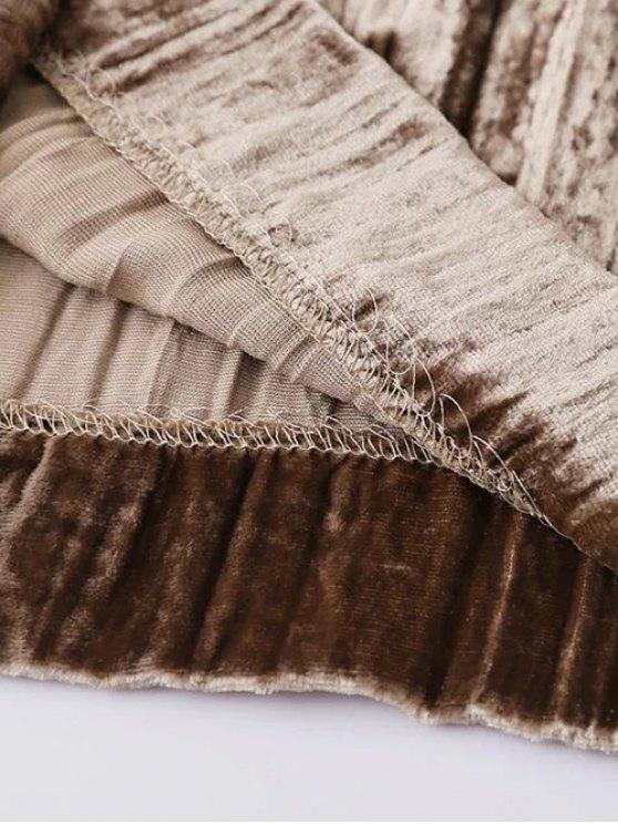 Velvet Pleated Pants - KHAKI M Mobile